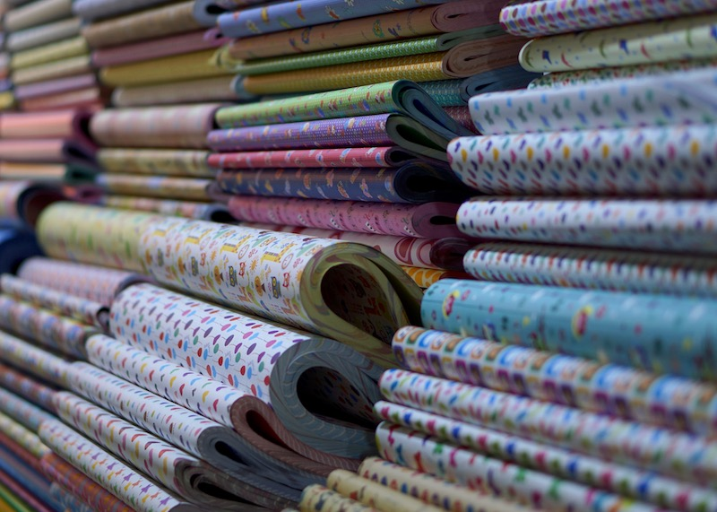 korean stationery stores seoul - colourful wrapping paper