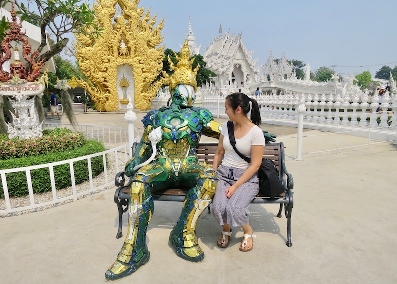 Wat Rong Khun White Temple In Chiang Rai – Asian girl with robot