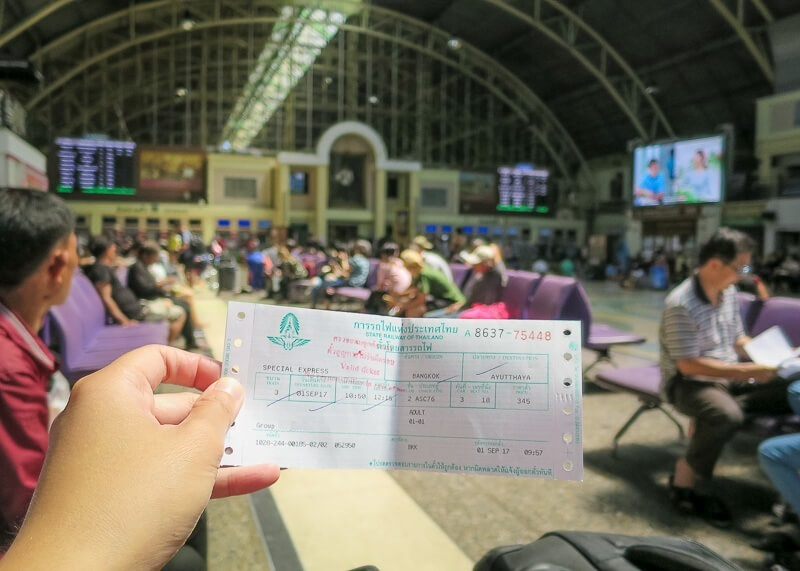 ticket purchased at Bangkok train station