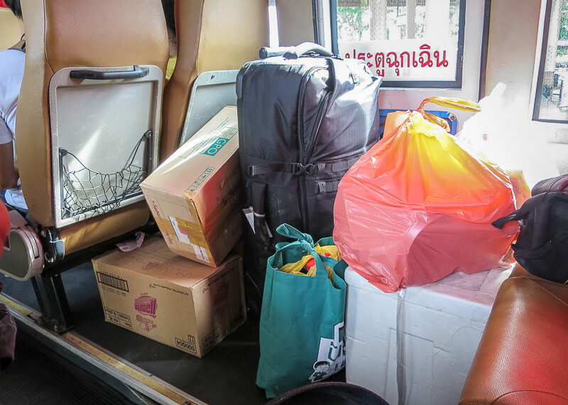 luggage on board the bus on our trip from Ayutthaya to Sukhothai