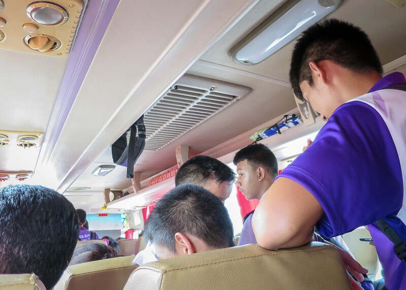 thai students inside the bus on our trip from Ayutthaya to Sukhothai