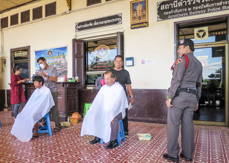 Ayutthaya to Sukhothai - haircut at the station