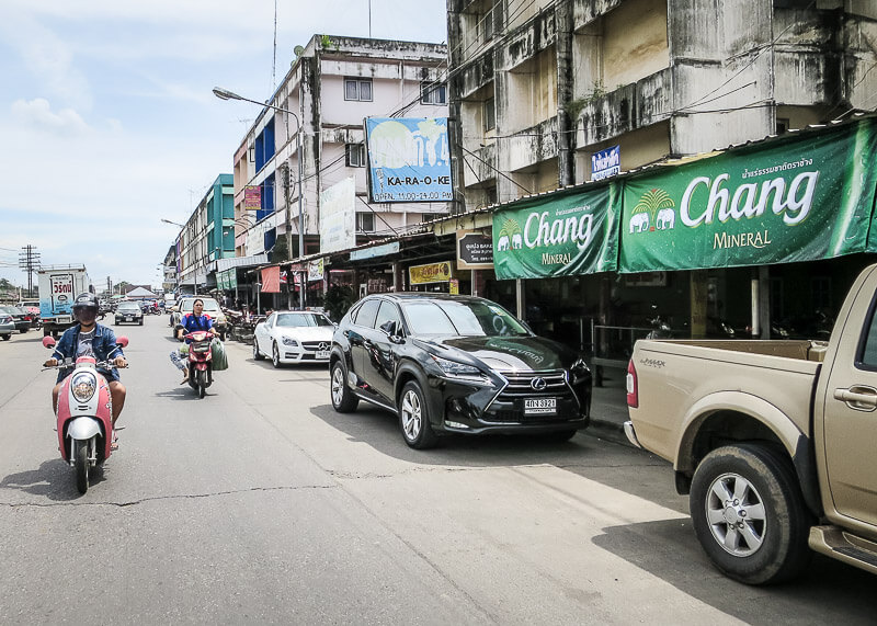 Ayutthaya to Sukhothai - car and bikes on roads