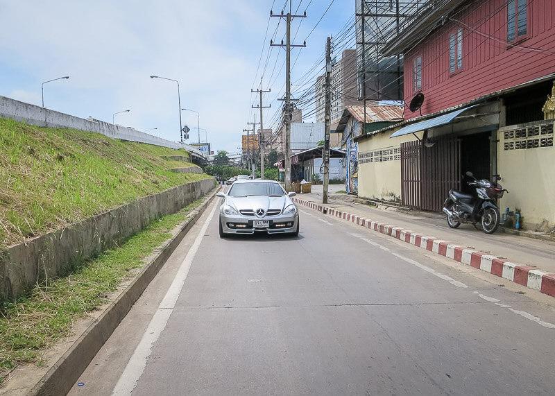 Ayutthaya to Sukhothai - mercedes on road