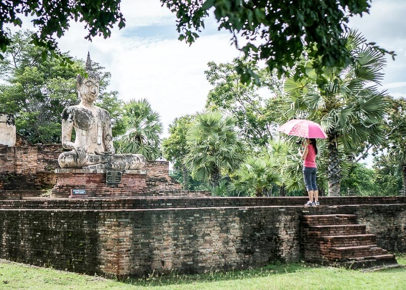 temple hopping in hot weather, sukhothai thailand