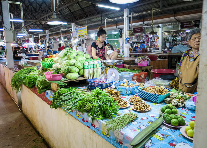 local market in Sukhothai in sukhothai thailand
