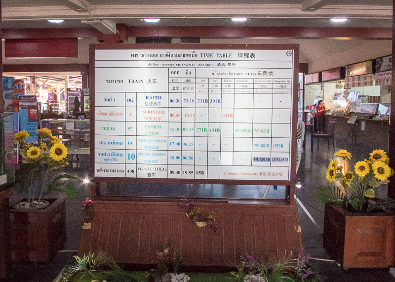 Chiang Mai Train Station schedule