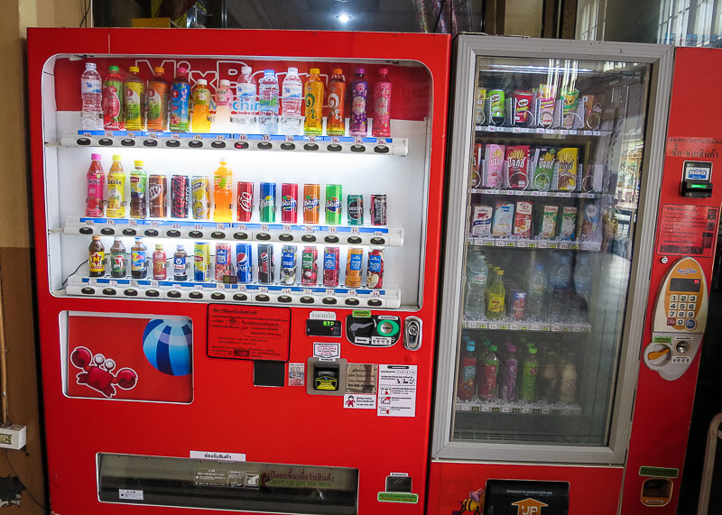 Vending machines with drinks at the train station