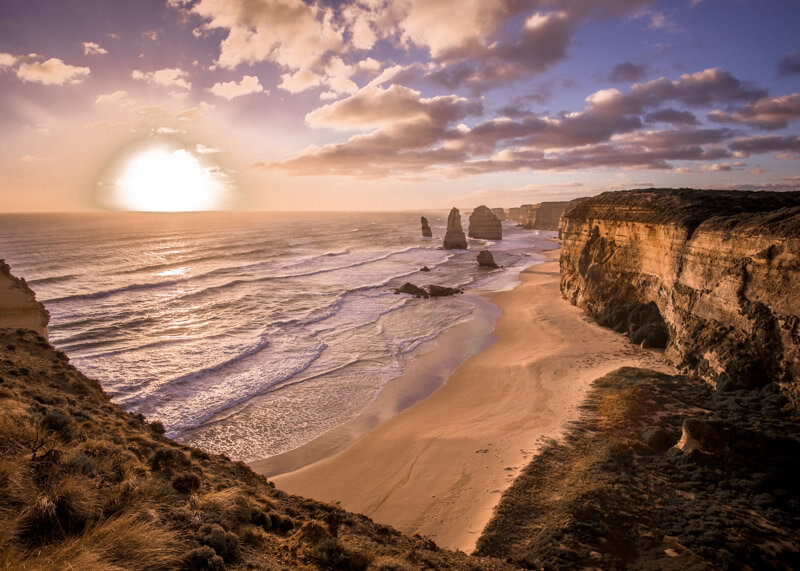 Great ocean road stops - twelve apostles at sunset
