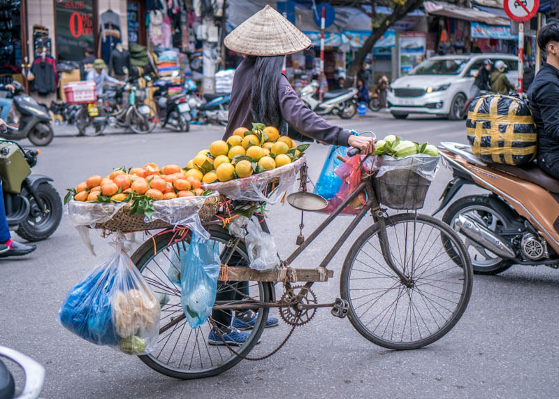 Hanoi trip blog - female fruit vendor