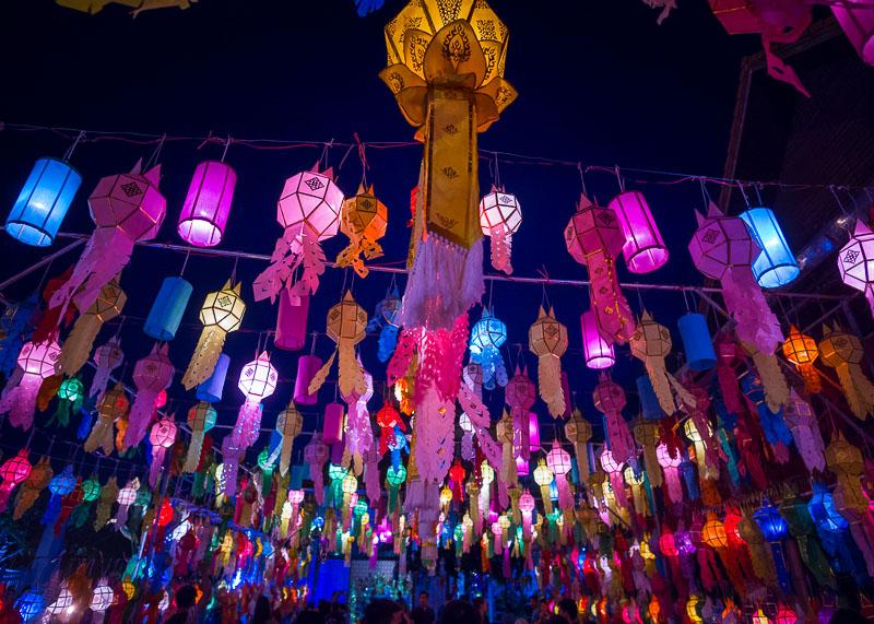 Loy Krathong Chiang Mai lantern festival - lanterns on display