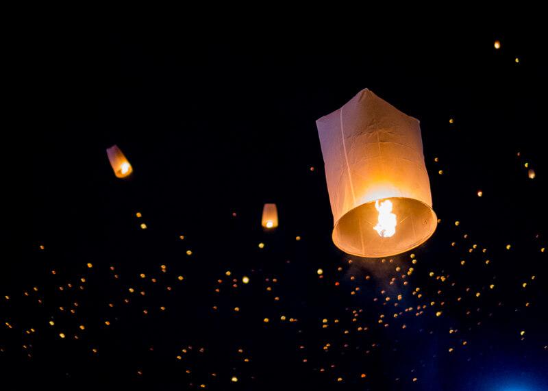 Loy Krathong Chiang Mai lantern festival - night skies