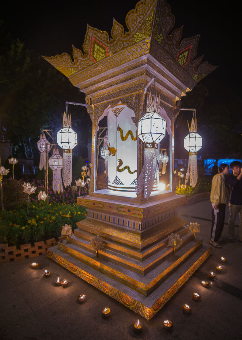 Loy Krathong Chiang Mai lantern festival - monument decorated with lanterns