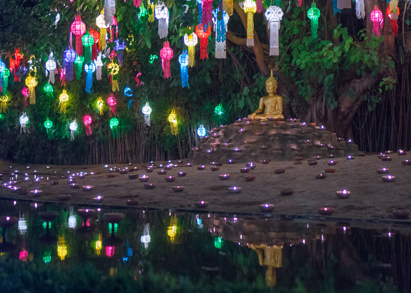 Loy Krathong Chiang Mai lantern festival - lanterns on tree