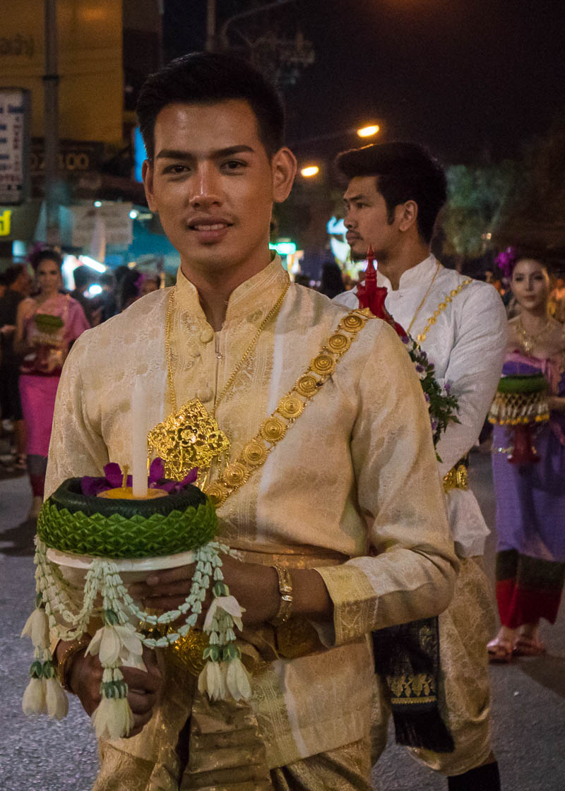 Loy Krathong Chiang Mai lantern festival - man in parade