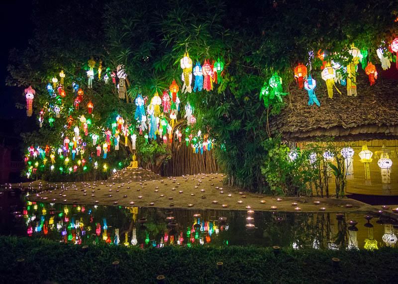 Loy Krathong Chiang Mai lantern festival - beautiful reflections