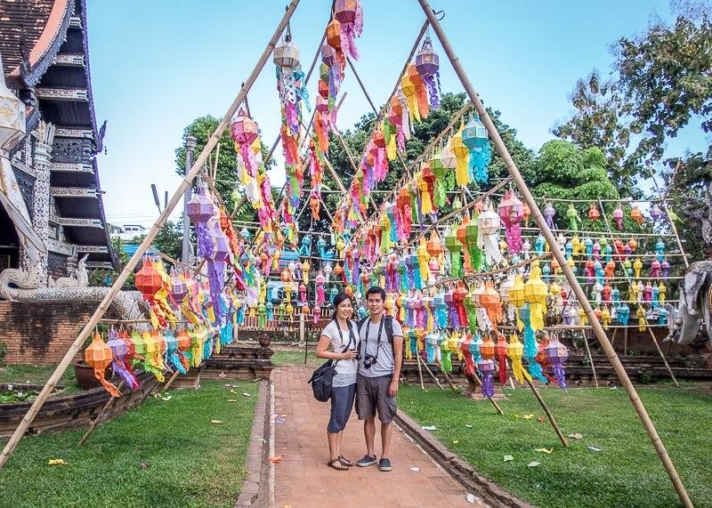 Loy Krathong Chiang Mai lantern festival - under lanterns decoration