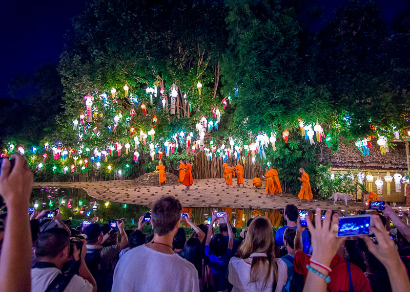 Loy Krathong Chiang Mai lantern festival - monks