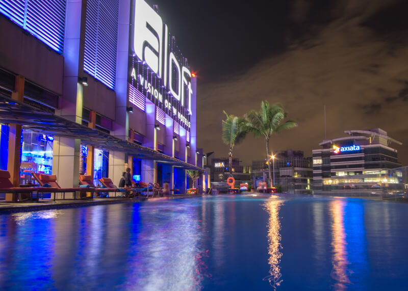 Hotel Aloft KL Sentral - rooftop pool at night