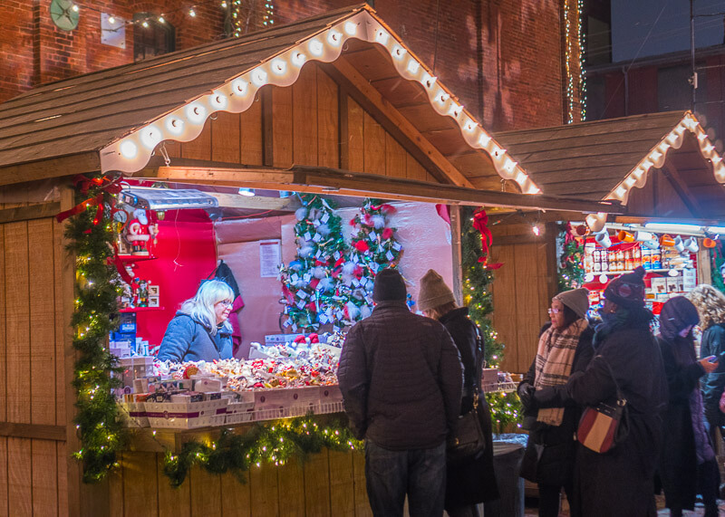 Toronto distillery district Christmas market - stalls
