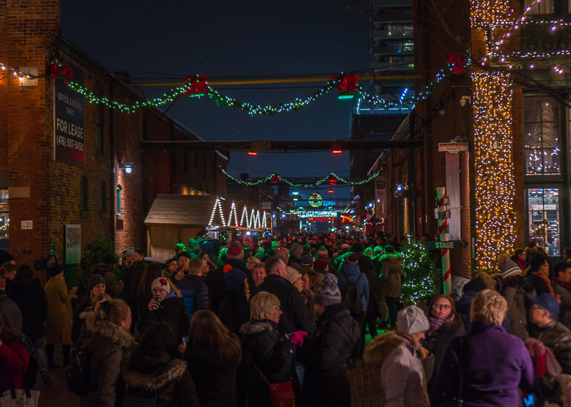 Toronto distillery district Christmas market - crowded market