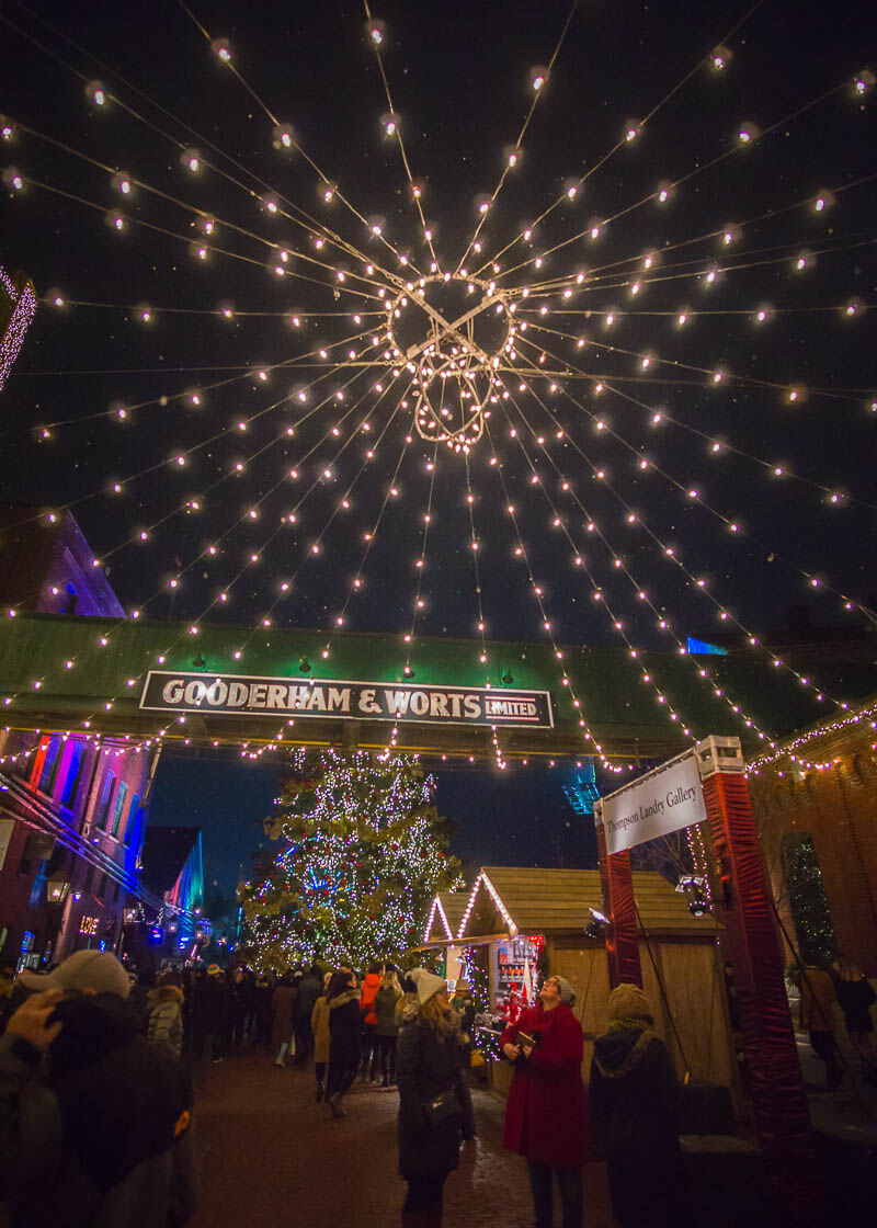 Toronto distillery district Christmas market - lights