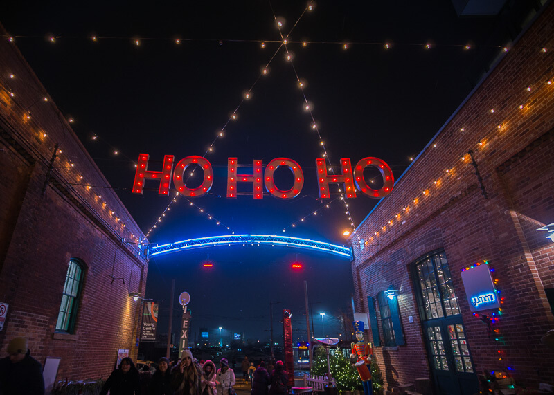 Toronto distillery district Christmas market - ho ho ho