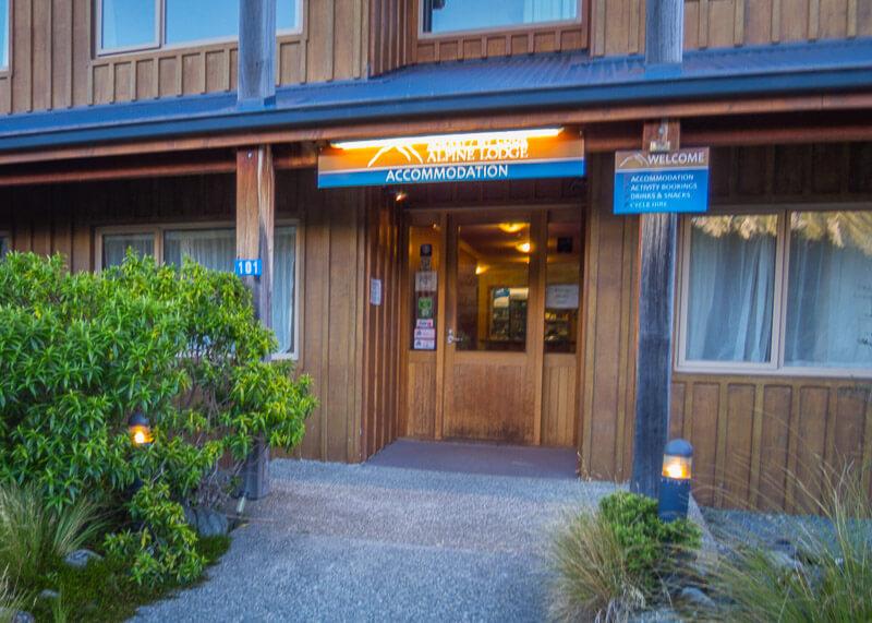 aoraki mount cook alpine lodge - front door
