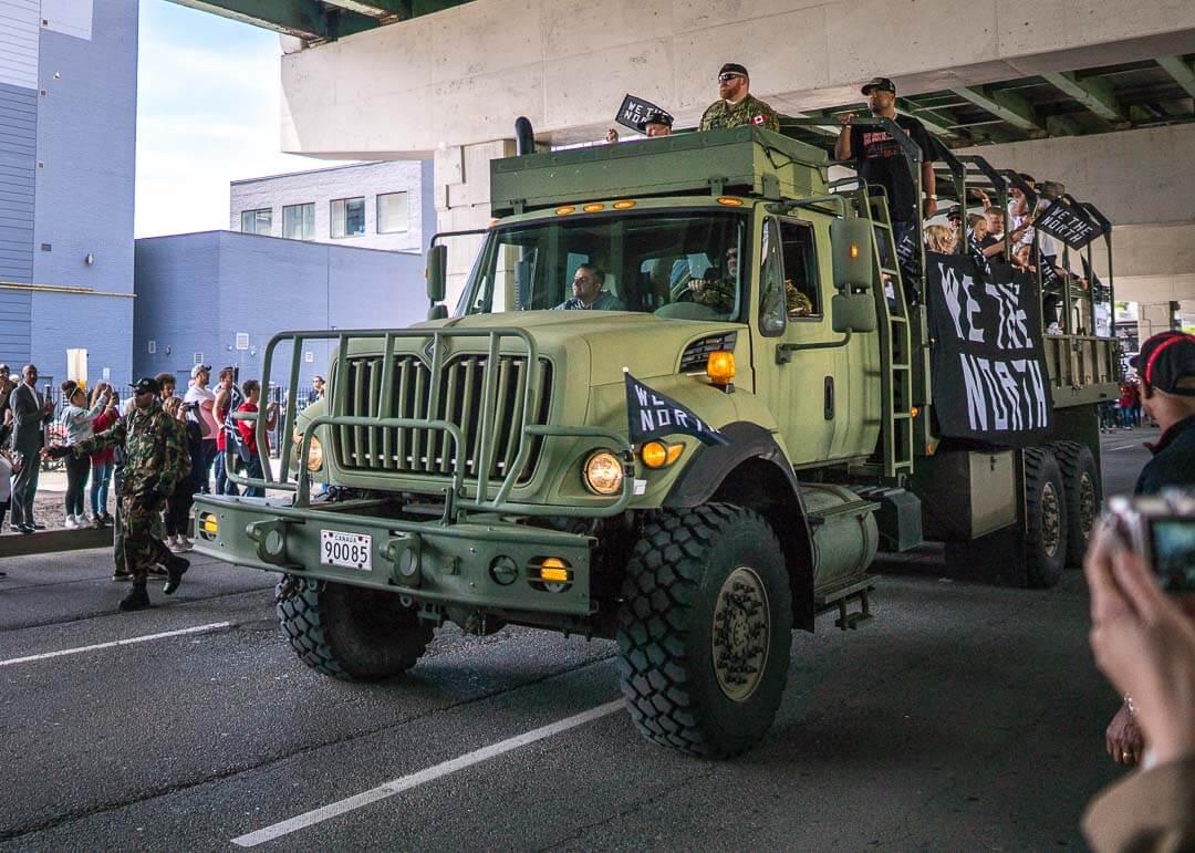 Raptors championship celebration parade - Army truck