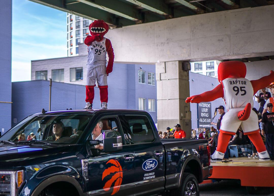 Raptors championship celebration parade - Raptors mascot