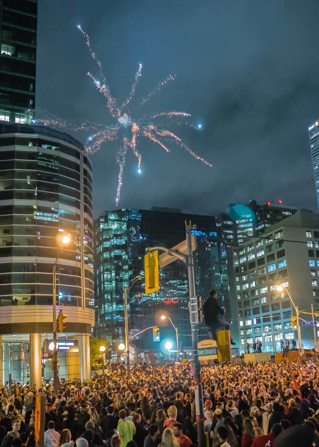 Raptors championship celebration parade - fireworks