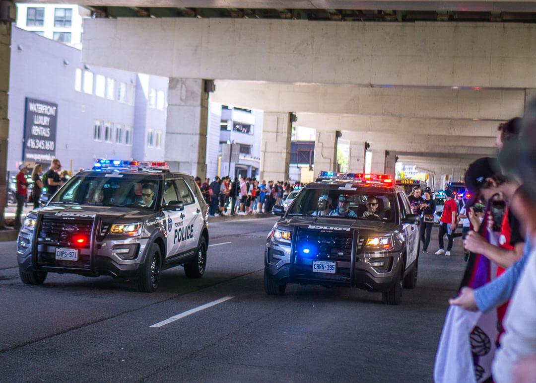 Raptors championship celebration parade - Police cars