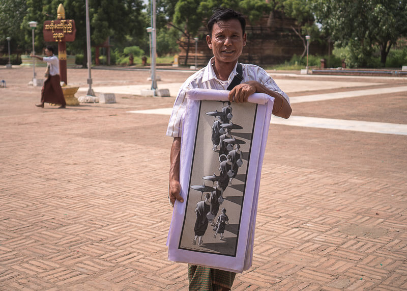 Bagan travel blog - bagan temple painting seller