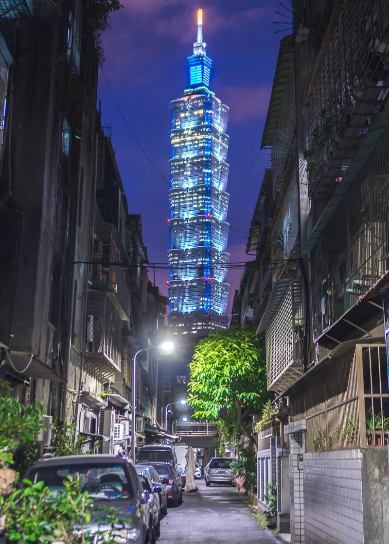 modern nomadic lifestyle - taipei 101 at night