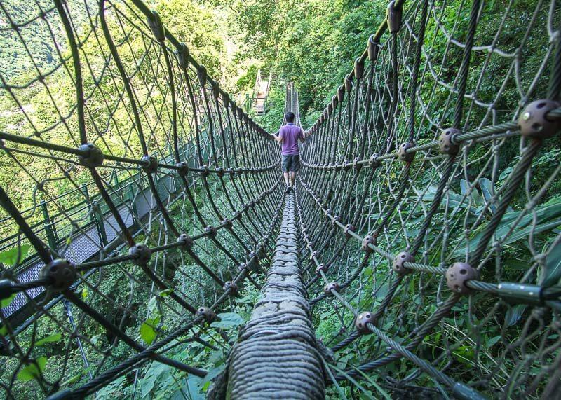 modern nomadic lifestyle - taroko gorge bridge trail in hualien