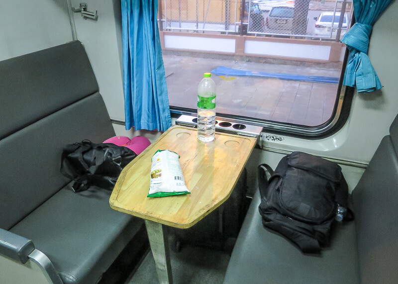 the Surat Thani to Bangkok train ride - train seats and snacks