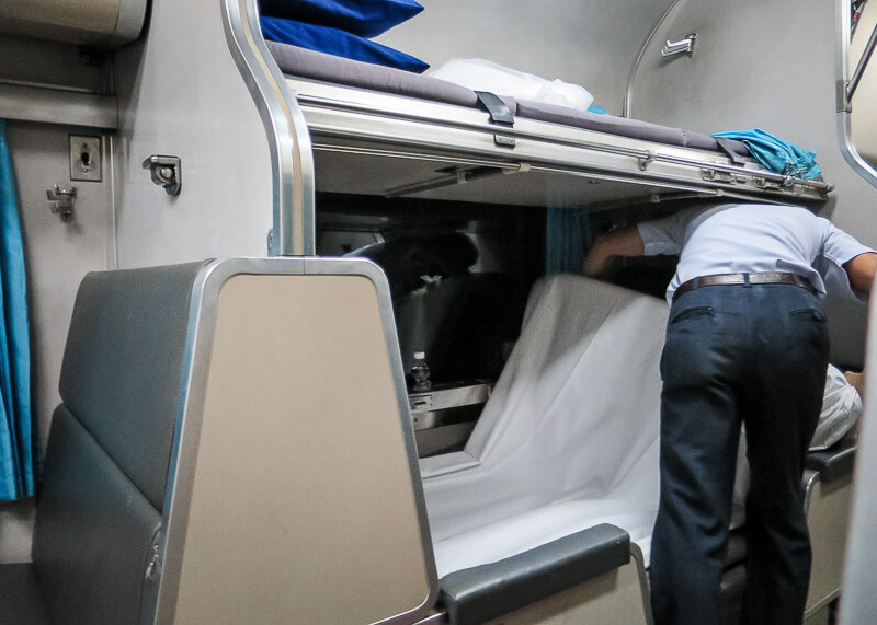 the Surat Thani to Bangkok train ride - convert to bed