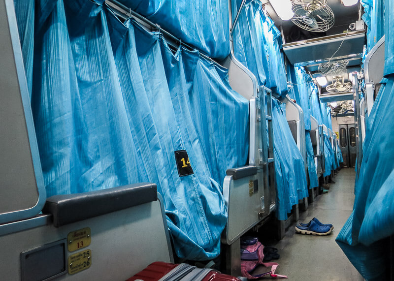 the Surat Thani to Bangkok train ride - train with curtains