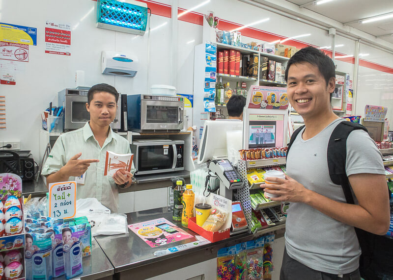 living in chiang mai thailand - buying sandwich at 7 Eleven