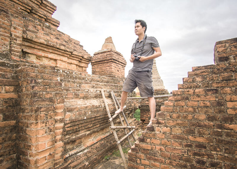 Bagan trip blog - ladder climbing at temple
