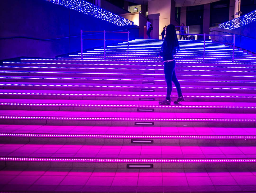 Things to do in odaiba tokyo - colourful stairs
