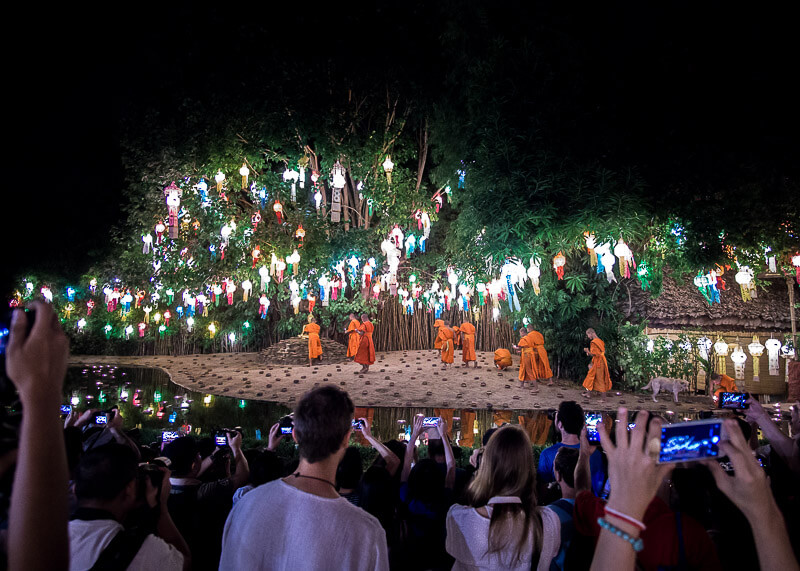chiang mai travel blog - monks at lantern festival