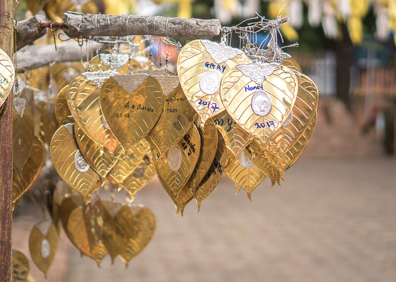 chiang mai trip blog - temple gold heart leaves