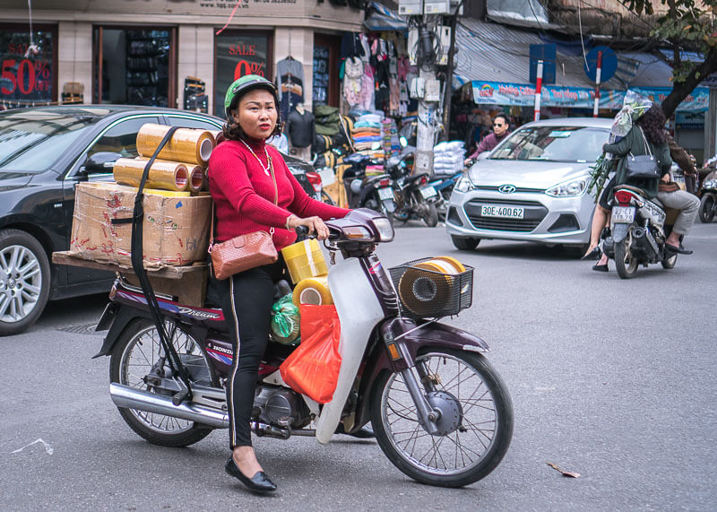 Hanoi travel blog - goods transported on bike