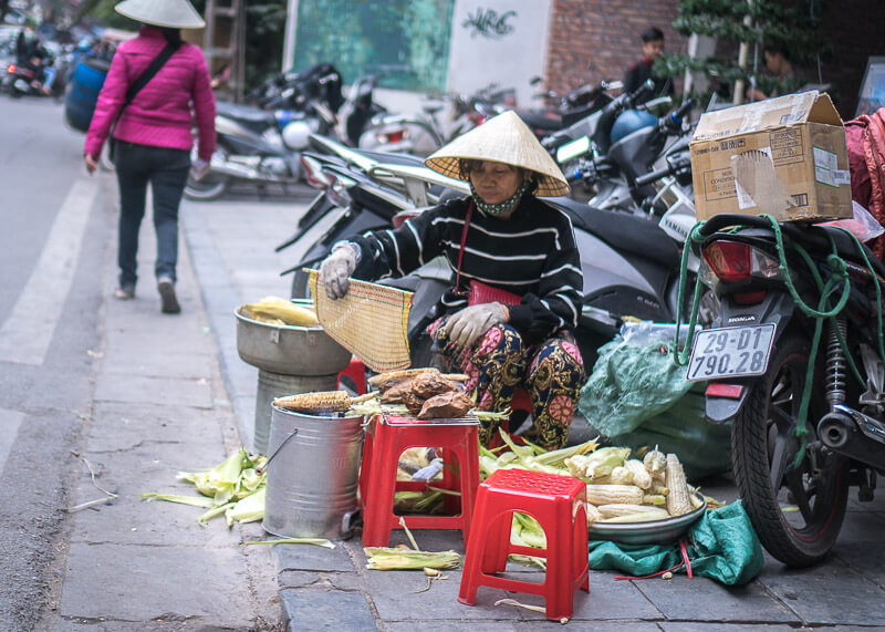 Hanoi travel blog - busy street with food vendors