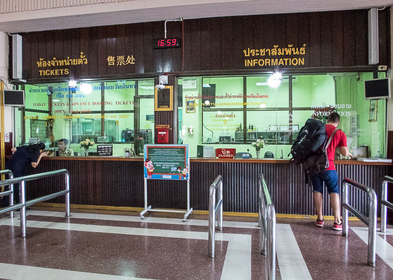 ticket booth for chiang mai to bangkok train trip
