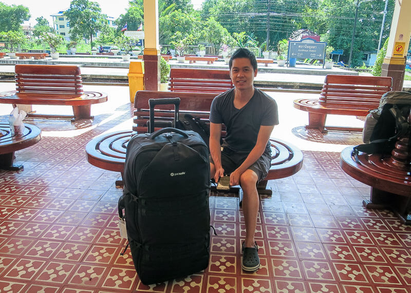 waiting at the train station to go from Ayutthaya to Sukhothai